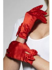 Short Red Gloves With Bow Detail